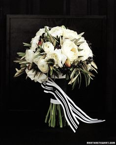 Black Tie Bouquets: Domed Olive bouquet - Martha Stewart Weddings Flowers