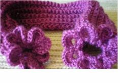 gola de lã em trico e croche cachecol gola com flor lã  e linha trico e croche