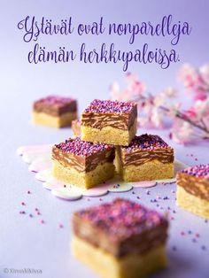 Ehkä arvaattekin jo kuvasta, mikä suklaakonvehti on ollut mielessäni näitä herkkuja leipoessa. 🙂 Wienernougat on jo varhaisesta lapsuudestani tuttu klassikko.