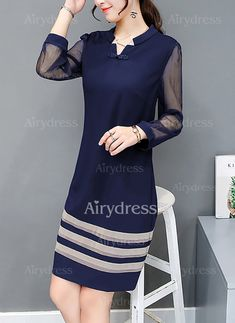 Solid Shirt Collar Long Sleeve A-line Dress Simple Dresses, Cute Dresses, Beautiful Dresses, Casual Dresses, Short Dresses, Dresses Elegant, Dresses Dresses, Dress Outfits, Fashion Dresses