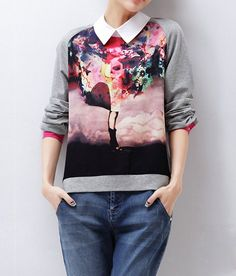 $10.30 Color Block Casual Shirt Collar Printed Long Sleeve Blouse For Women