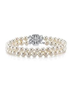 7.0-7.5mm White Freshwater Cultured Pearl Double Strand Bracelet - AAAA Quality *** Be sure to check out this awesome product.