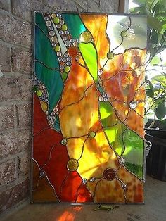 Abstract Stained Glass Transom Window Contemporary Nuggets Suncatcher Panel…