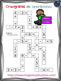 Crucigramas de operaciones sencillas - Imagenes Educativas MATHEMATIC HISTORY Mathematics is among the oldest sciences Kids Math Worksheets, Maths Puzzles, Learning Activities, Activities For Kids, 1st Grade Math, Kindergarten Math, Math For Kids, Kids Education, Mathematics