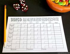 This FREE Bunco score sheet makes room to tally and keep track of points, includes the easy rules, and makes totals easy to track for passing out prizes.
