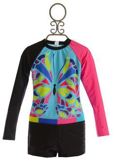 Limeapple Tween Rashguard Swimsuit Butterfly Blue $39.00