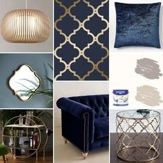 Morocco Trellis MoodBoard – Living room decor colors – Home office wallpaper Blue And Gold Living Room, Navy Living Rooms, Art Deco Living Room, Living Room Decor Colors, Living Room Color Schemes, New Living Room, My New Room, Room Colors, Interior Design Living Room
