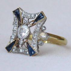 Antique Art Deco Style Platinum Sapphire and Diamond Ring