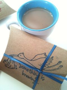 BABY SHOWER favors Set of 10 Hot Chocolate or Chai Tea Party Favors by Apropos Roasters. $25.00, via Etsy.