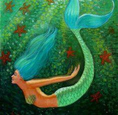 Blue hair Mermaid fantasy art, starfish, spiritual green sea Goddess, poster print of painting. $24.95, via Etsy.