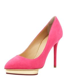 Debbie Suede Heart-Platform Pump, Fuchsia by Charlotte Olympia at Bergdorf Goodman.