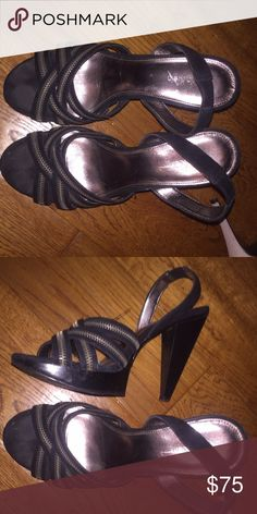 Black Calvin Klein heels Zipper wrap front Calvin Klein Shoes Heels