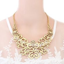 Splendid Fashion Women Hollow Bib Choker Statement Vintage Paper cut necklaces pendants 521M(China (Mainland))