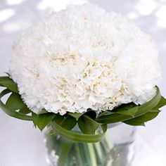 Wedding centerpieces with white carnations... just add some tea lights around it for a gorgeous wedding centerpiece!