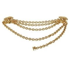 Pre-Owned Chanel Gold Double Cc Chain Belt ($605) ❤ liked on Polyvore featuring accessories, belts, multi, hook belt, gold chain belt, chanel, gold belt and chanel belt