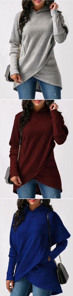 [Newchic Online Shopping] 48%OFF Casual Loose Solid Color Long Sleeve Women Asymmetrical Hoodies