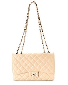 Chanel Beige Quilted Caviar Leather Jumbo Single Flap Bag