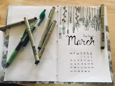 My bullet journal; March cover 2018; theme: hanging plants in mason jars