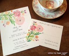 Floral Wedding Invitations // Garden by LittleIvyPaperGoods