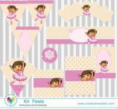 Kit Festa Dora Bailarina mod:103 Dora Diego, Go Diego Go, Ballerina Birthday, Dora The Explorer, Ideas Para Fiestas, Happy Birthday Banners, Disney Cartoons, Party Themes, Party Ideas