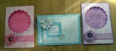 3 Cards I made using Kaszazz Ezy-Press machine, with Distress Inks, Vellum Flowers &  'Fairy Dust' glitter