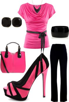 """""""hot pink work day"""" by teresajohnson-1 on Polyvore"""