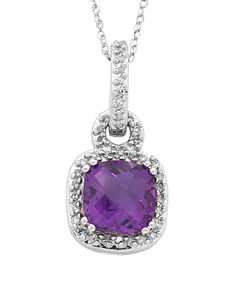 Amethyst Pendant - White Gold Amethyst and Diamond Pendant - 756416 – Salera's Jewellmasters