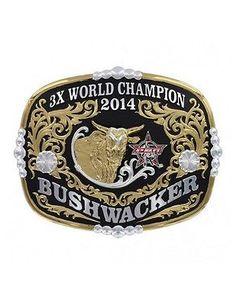 Montana Silversmiths Belt Buckle Bushwacker PBR Gold Black PBRBUSH3 2ad4b59c606