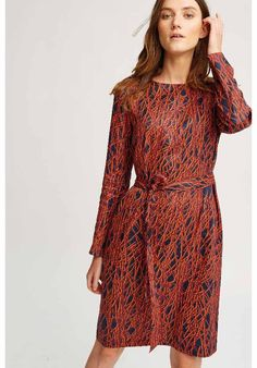 Women - Anita Abstract Dress Navy and Red