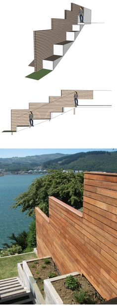 garten hanglage Neighbour privacy - but dont spoil the view! Finger-jointed Kwila fence, macrocarpa steps and planters for kitchen herbs. Kitchen Herbs, 3d Landscape, Landscape Designs, Hillside Landscaping, Finger Joint, Outdoor Furniture, Outdoor Decor, Sun Lounger, Planters