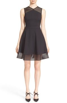 Ted Baker London 'Eleese' Mesh Detail Skater Dress available at #Nordstrom