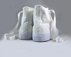 05bc64e056d1 Ivory Lace High Top Converses --Bridal Converses -- Wedding Tennis shoes -  Wedding Converse High Top-- Custom Converses