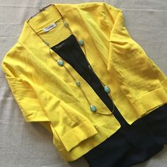 NEW ITEM! {Calvin Klein} Yellow Crop Sweater This cropped sweater has long sleeves and is the perfect weight for layering! Great spring yellow color adding that pop to any outfit! 76% cotton, 24% nylon. Is in perfect condition! Calvin Klein Sweaters Cardigans