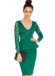 Cheap long sleeve peplum dress, Buy Quality lace dress directly from China bodycon dress Suppliers: Long Sleeve Peplum Dress Deep V Neck Sexy Lace Dress Plus Size Elegant Wear To Work Bodycon Dress Hot Women Pencil Midi Dresses Long Sleeve Peplum Dress, Sexy Lace Dress, Bodycon Dress, Lace Peplum, Bandage Dresses, Work Dresses For Women, Clothes For Women, Vestidos Chiffon, Lace Sleeves
