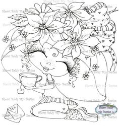 INSTANT DOWNLOAD Digital Stamp Img927 Flowers My by SherriBaldy