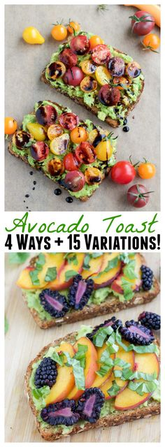 Avocado toast is my favorite healthy breakfast. Here are 4 examples of loaded avocado toast that will blow your mind + 15 variations! Need an easy back to school breakfast? Avocado toast is great for kids too, they can help pick the toppings! Tea Sandwiches, Healthy Sandwiches, Brunch Recipes, Breakfast Recipes, Breakfast Ideas, Simple Avocado Toast, Burritos, Avocado Breakfast, Avocado Dessert