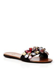 No. 21 Flat Slide Sandals - Jeweled
