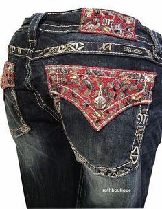 Miss Me Size 33, (15/16) Paisley Pocket Boot Cut Jeans JP8517B $109.50 #MissMe #BootCut