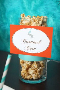 Caramel corn at a Thanksgiving party! See more party planning ideas at CatchMyParty.com!