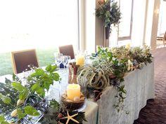 # Vress et Rose # Wedding # whitegreen # table coordinate#main table# natural # Flower # Bridal # ブレスエットロゼ #ウエディング#シンプル # メインテーブル #テーブルコーディネート # ナチュラル# ブライダル#結婚式 Wedding Table Flowers, Inside Design, Wedding Coordinator, Table Decorations, Bridal, Plants, Inspiration, Image, Home Decor