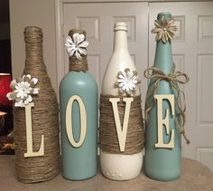 Items similar to Twine Wrapped Wine Bottles - Wine Bottle Decor - Wedding Centerpieces - Home Decor - Painted Wine Bottles - Rustic on Etsy Glass Bottle Crafts, Wine Bottle Art, Painted Wine Bottles, Diy Bottle, Glass Bottles, Diy Art Projects, Diy Wedding Projects, Wrapped Wine Bottles, Cork Crafts