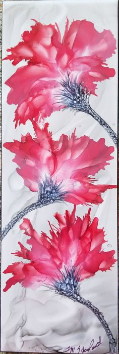 Flowers in alcohol ink on long 12x4 ceramic tile by Tina.