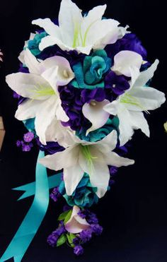 real looking flower wedding bouquets purple teal and white - Google Search