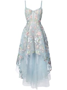 Shop Marchesa Notte floral embroidered high-low dress
