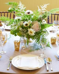 Natural forestry meets timeless glamour in these centerpieces