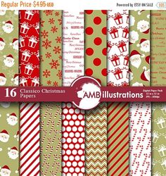 80%OFF Christmas digital paper Classic by AMBillustrations on Etsy