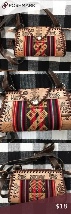 """Cross body bag woven Canvas w//fringe /& Aztec triangles Pink and Black 10/""""X10/"""""""