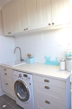 big drawers for sorting clothes. Ikea Laundry, Laundry Room Bathroom, Laundry Rooms, Bathrooms, Sorting Clothes, Laundry Room Inspiration, White Picket Fence, Humble Abode, First Home