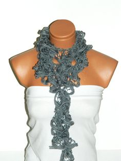 The scarf is knitted with gray soft yarn Long by WomanStyleStore, $15.00