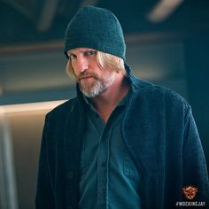 Here's Haymitch! The official Instagram of The Hunger Games posted this still of Woody Harrelson as a blue- clad Haymitch today.